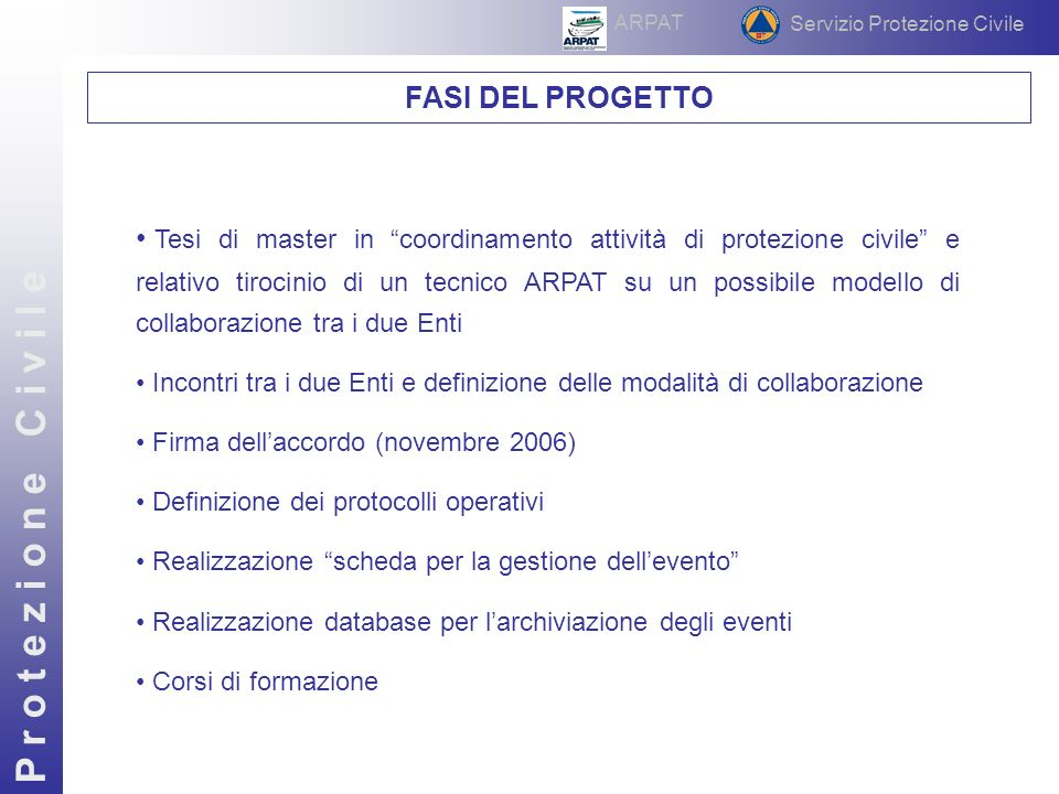 P r o t e z i o n e C i v i l e Interventi effettuati nellanno 2007 Chiamate per ARPAT (tot.64) Tipologia evento Estensione dellevento Servizio Protezione Civile ARPAT Fascia oraria della chiamata