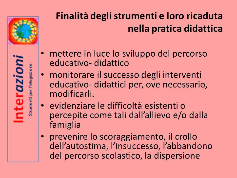 Finalità degli strumenti e loro ricaduta nella pratica didattica mettere in luce lo sviluppo del percorso educativo- didattico monitorare il successo