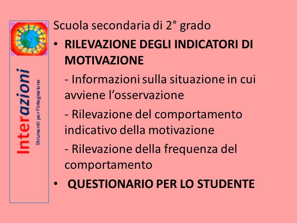 Scuola secondaria di 2° grado RILEVAZIONE DEGLI INDICATORI DI MOTIVAZIONE - Informazioni sulla situazione in cui avviene losservazione - Rilevazione d