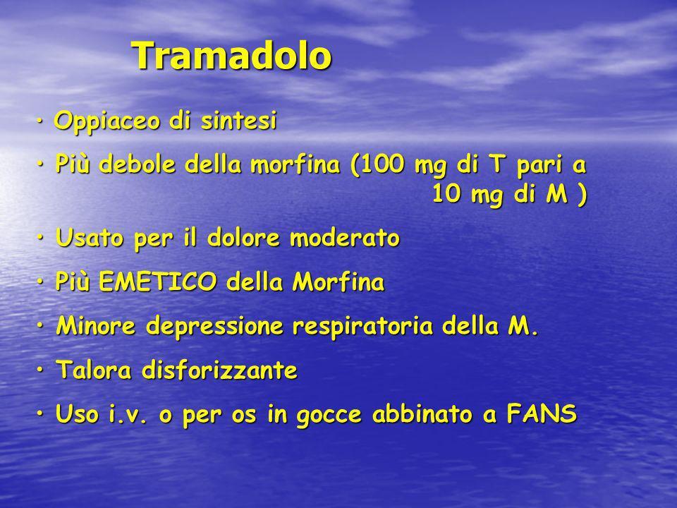 Tramadolo Tramadolo Oppiaceo di sintesi Oppiaceo di sintesi Più debole della morfina (100 mg di T pari a 10 mg di M ) Più debole della morfina (100 mg