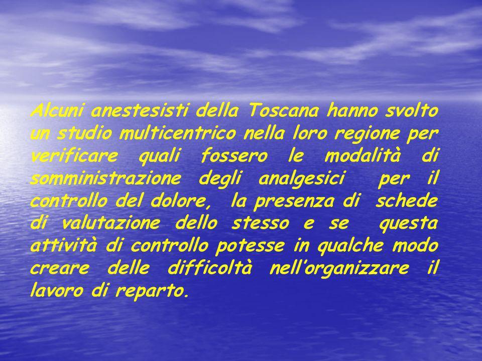 Alcuni anestesisti della Toscana hanno svolto un studio multicentrico nella loro regione per verificare quali fossero le modalità di somministrazione
