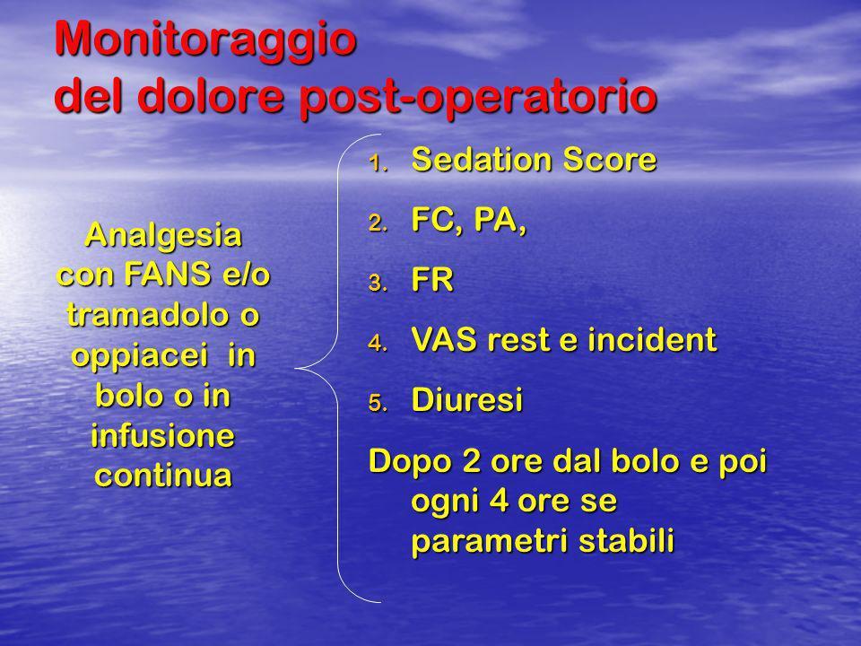 Monitoraggio del dolore post-operatorio 1. Sedation Score 2. FC, PA, 3. FR 4. VAS rest e incident 5. Diuresi Dopo 2 ore dal bolo e poi ogni 4 ore se p