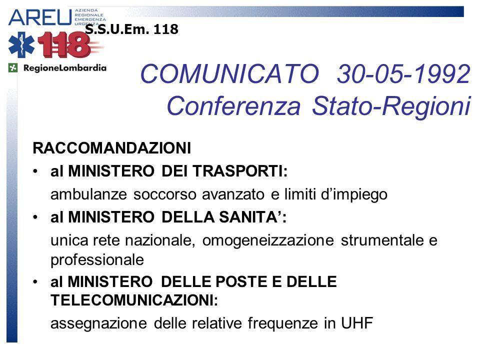 S.S.U.Em. 118 COMUNICATO 30-05-1992 Conferenza Stato-Regioni RACCOMANDAZIONI al MINISTERO DEI TRASPORTI: ambulanze soccorso avanzato e limiti dimpiego