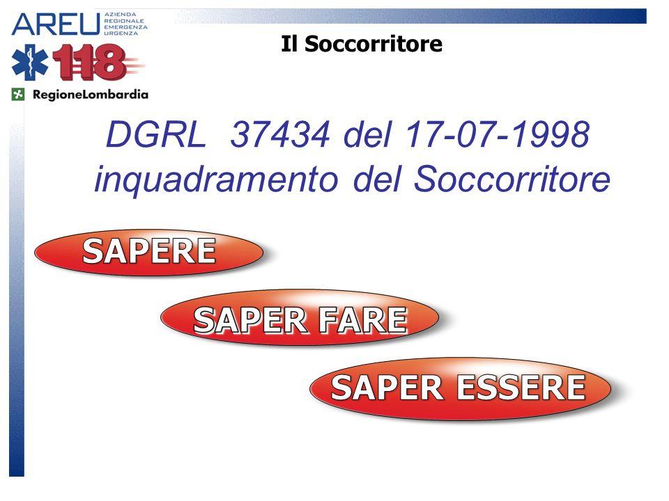 Il Soccorritore DGRL 37434 del 17-07-1998 inquadramento del Soccorritore