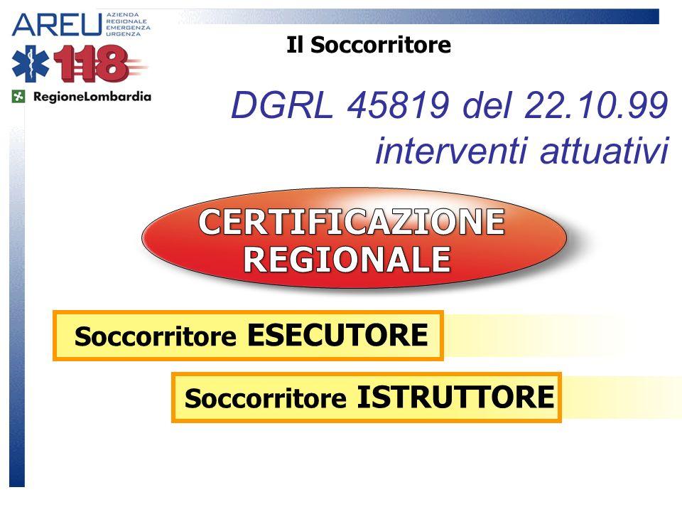 Il Soccorritore DGRL 45819 del 22.10.99 interventi attuativi Soccorritore ESECUTORE Soccorritore ISTRUTTORE