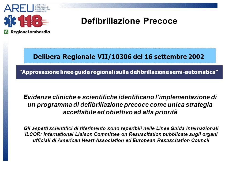 Approvazione linee guida regionali sulla defibrillazione semi-automatica Delibera Regionale VII/10306 del 16 settembre 2002 Evidenze cliniche e scient