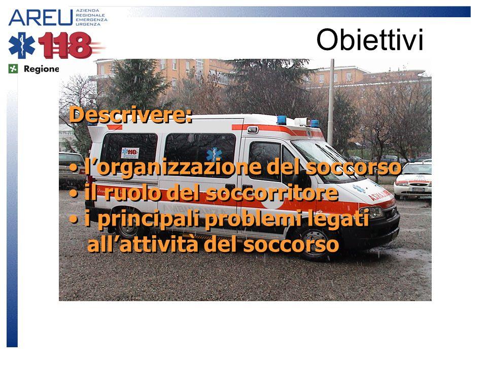 Obiettivi Descrivere: lorganizzazione del soccorso il ruolo del soccorritore i principali problemi legati allattività del soccorso Descrivere: lorgani