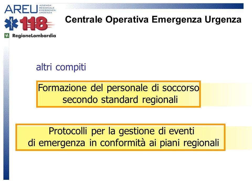 Centrale Operativa Emergenza Urgenza altri compiti Formazione del personale di soccorso secondo standard regionali Protocolli per la gestione di event