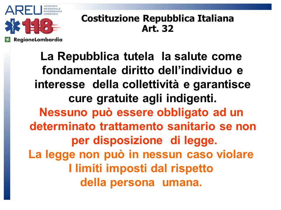 Costituzione Repubblica Italiana Art. 32 La Repubblica tutela la salute come fondamentale diritto dellindividuo e interesse della collettività e garan