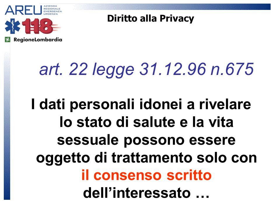 Diritto alla Privacy I dati personali idonei a rivelare lo stato di salute e la vita sessuale possono essere oggetto di trattamento solo con il consen