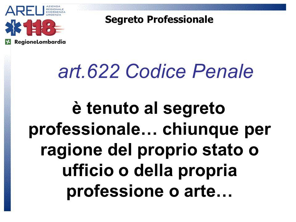 Segreto Professionale è tenuto al segreto professionale… chiunque per ragione del proprio stato o ufficio o della propria professione o arte… art.622