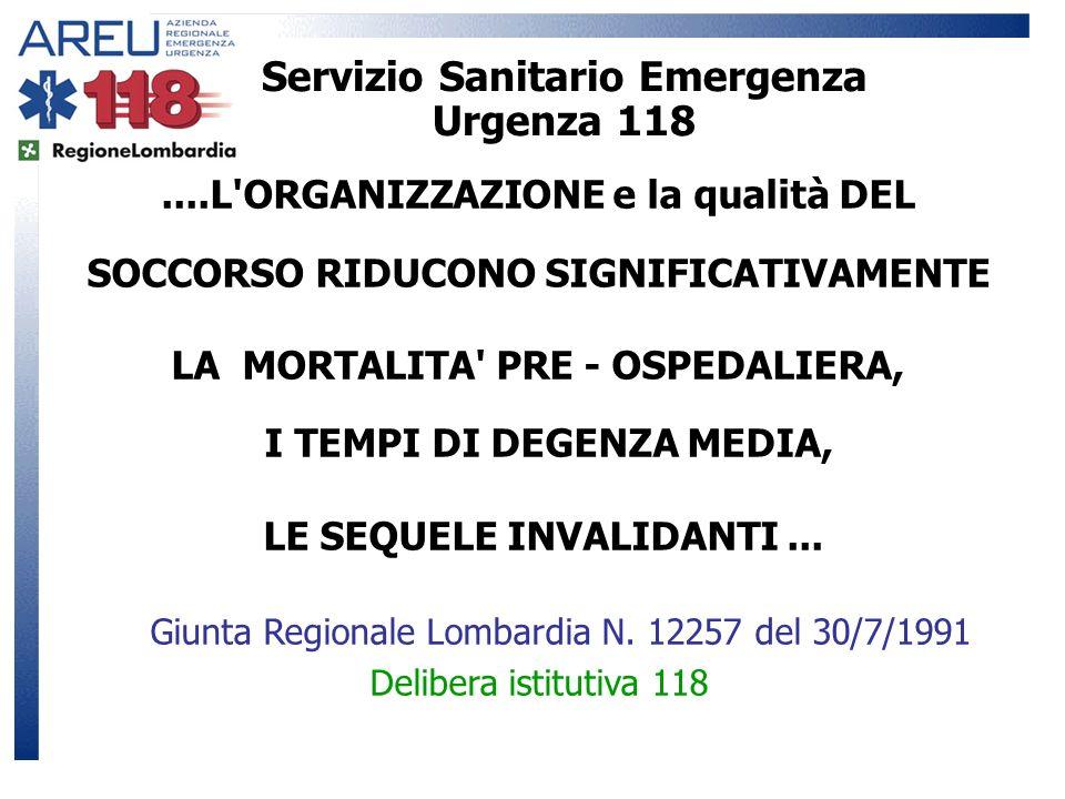 Servizio Sanitario Emergenza Urgenza 118....L'ORGANIZZAZIONE e la qualità DEL SOCCORSO RIDUCONO SIGNIFICATIVAMENTE LA MORTALITA' PRE - OSPEDALIERA, I