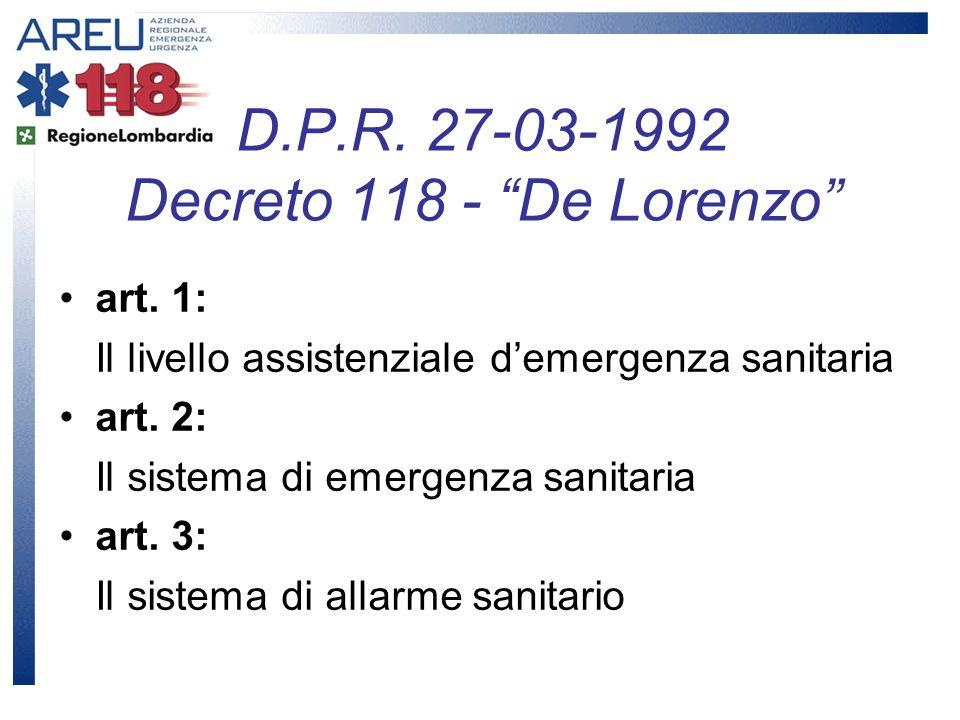 art. 1: Il livello assistenziale demergenza sanitaria art. 2: Il sistema di emergenza sanitaria art. 3: Il sistema di allarme sanitario D.P.R. 27-03-1