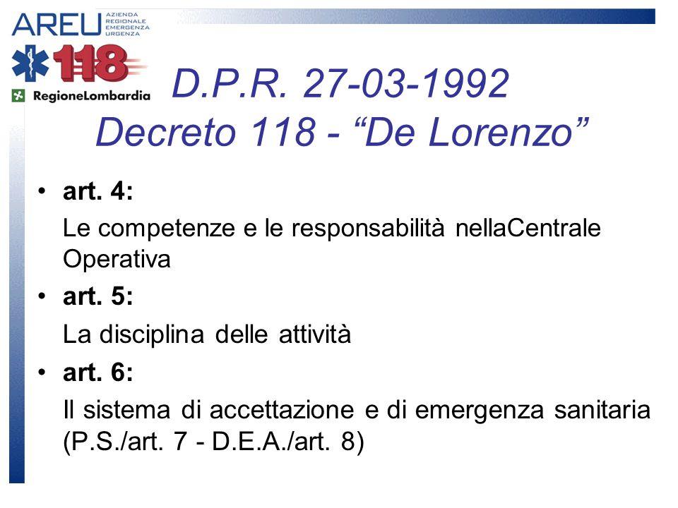 art. 4: Le competenze e le responsabilità nellaCentrale Operativa art. 5: La disciplina delle attività art. 6: Il sistema di accettazione e di emergen