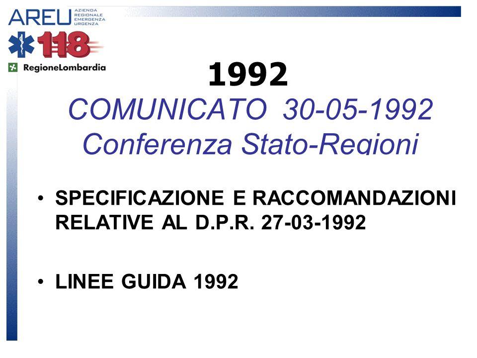 COMUNICATO 30-05-1992 Conferenza Stato-Regioni 1992 SPECIFICAZIONE E RACCOMANDAZIONI RELATIVE AL D.P.R. 27-03-1992 LINEE GUIDA 1992