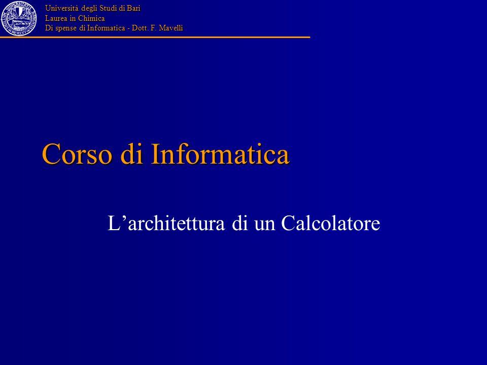 Università degli Studi di Bari Laurea in Chimica Di spense di Informatica - Dott. F. Mavelli Corso di Informatica Larchitettura di un Calcolatore