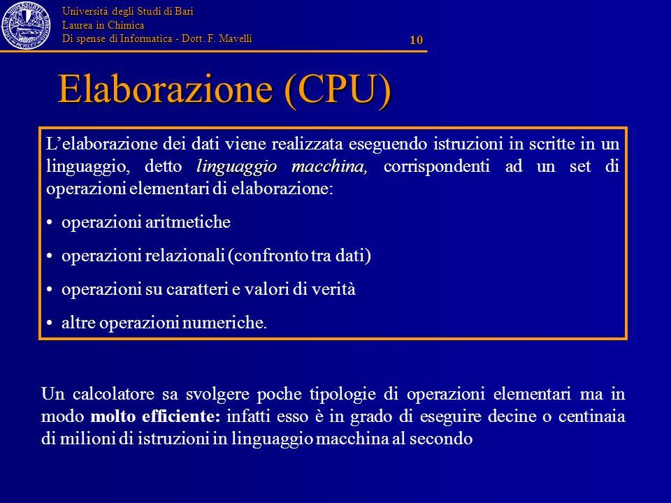 Università degli Studi di Bari Laurea in Chimica Di spense di Informatica - Dott. F. Mavelli 10 Elaborazione (CPU) linguaggio macchina, Lelaborazione