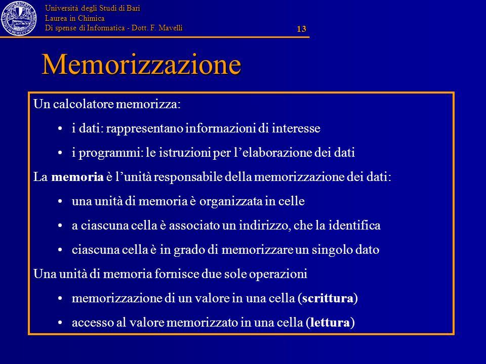 Università degli Studi di Bari Laurea in Chimica Di spense di Informatica - Dott. F. Mavelli 13 Memorizzazione Un calcolatore memorizza: i dati: rappr