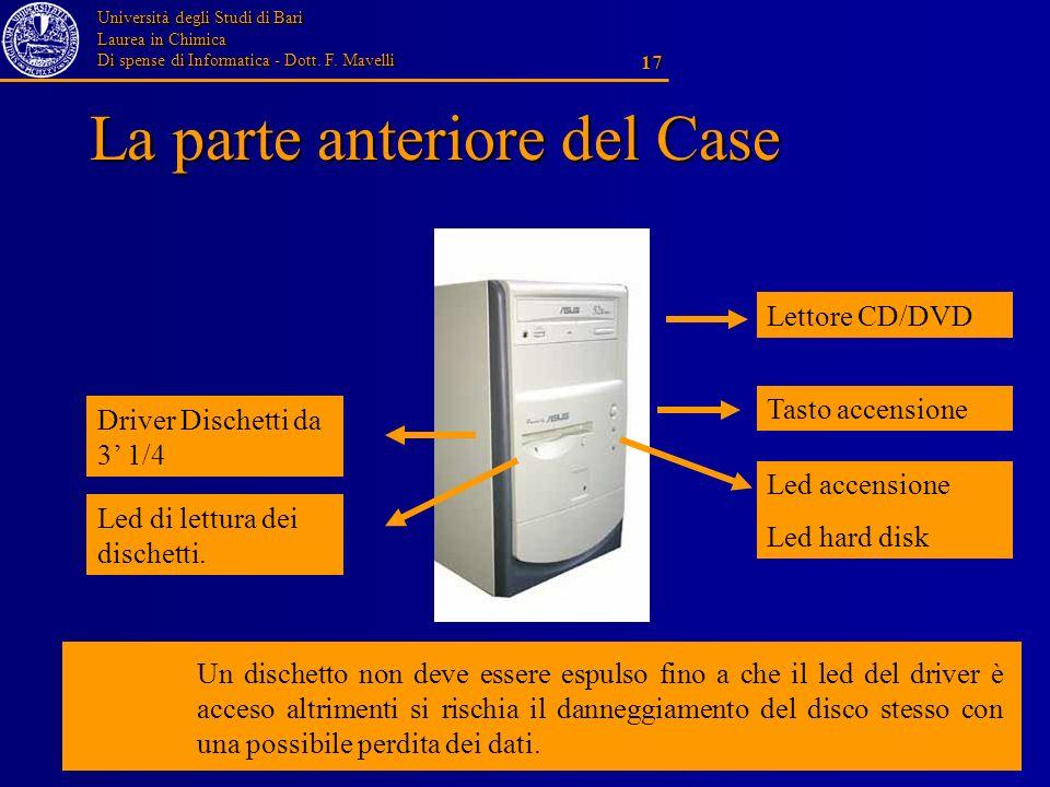 Università degli Studi di Bari Laurea in Chimica Di spense di Informatica - Dott. F. Mavelli 17 La parte anteriore del Case Lettore CD/DVD Tasto accen