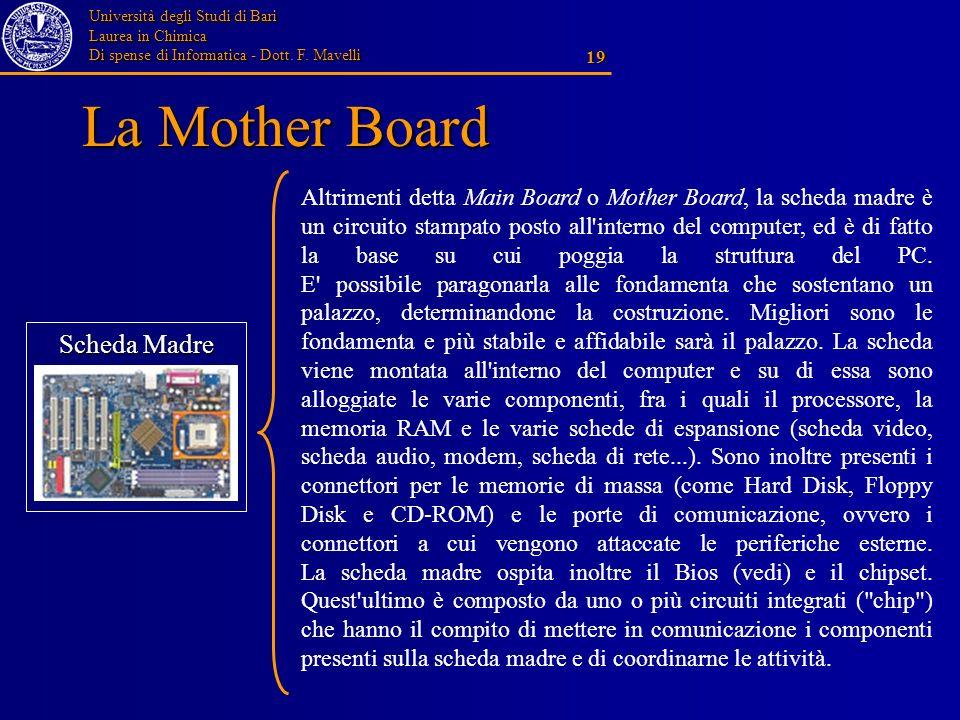 Università degli Studi di Bari Laurea in Chimica Di spense di Informatica - Dott. F. Mavelli 19 La Mother Board Scheda Madre Altrimenti detta Main Boa