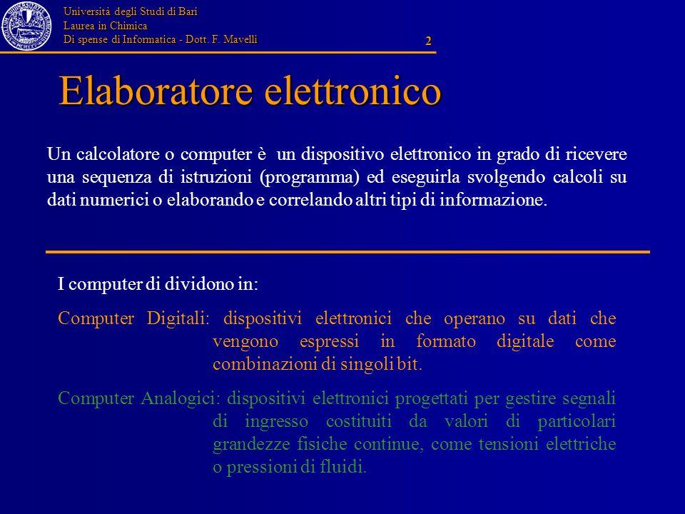 Università degli Studi di Bari Laurea in Chimica Di spense di Informatica - Dott. F. Mavelli 2 Elaboratore elettronico Un calcolatore o computer è un