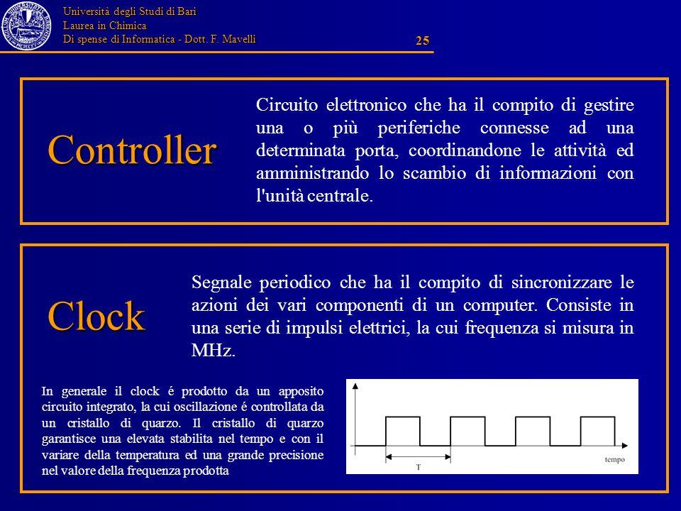 Università degli Studi di Bari Laurea in Chimica Di spense di Informatica - Dott. F. Mavelli 25 Controller Circuito elettronico che ha il compito di g
