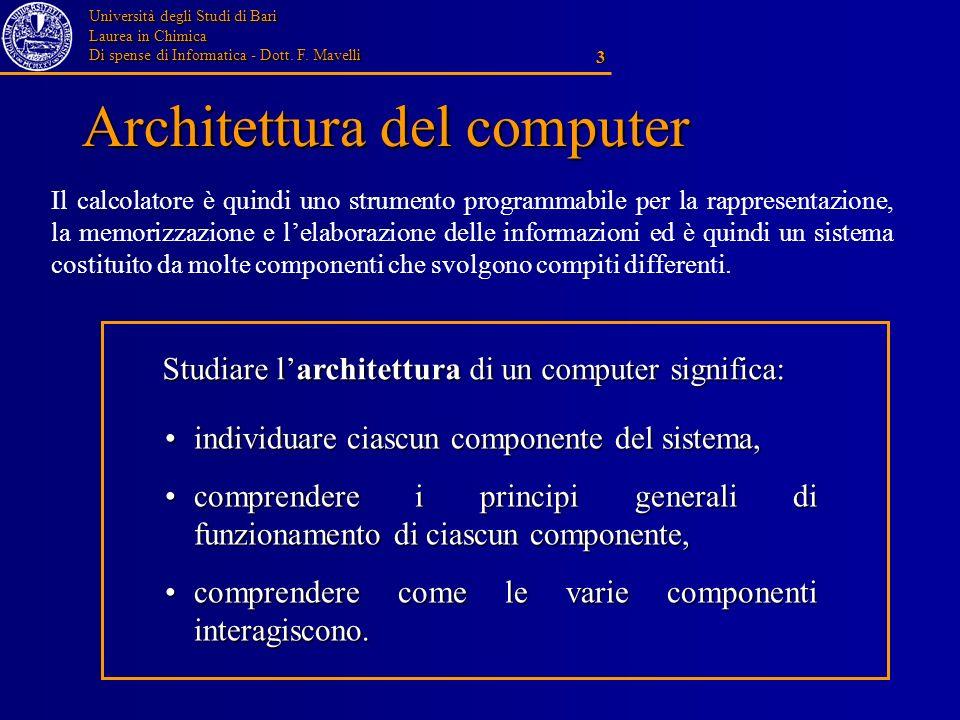 Università degli Studi di Bari Laurea in Chimica Di spense di Informatica - Dott. F. Mavelli 3 Architettura del computer individuare ciascun component