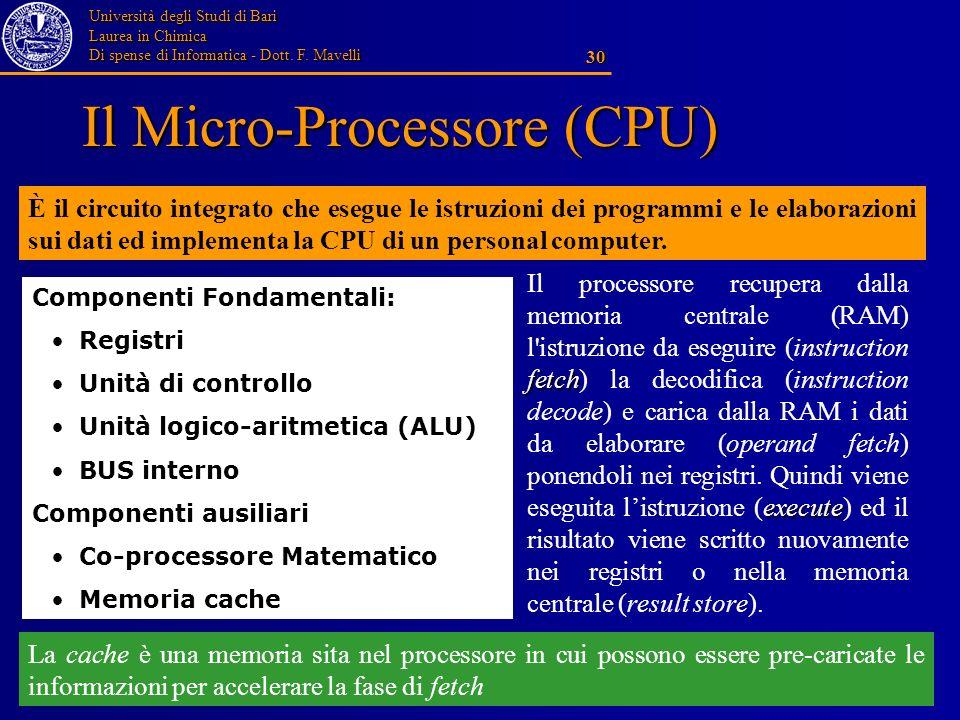 Università degli Studi di Bari Laurea in Chimica Di spense di Informatica - Dott. F. Mavelli 30 Il Micro-Processore (CPU) È il circuito integrato che