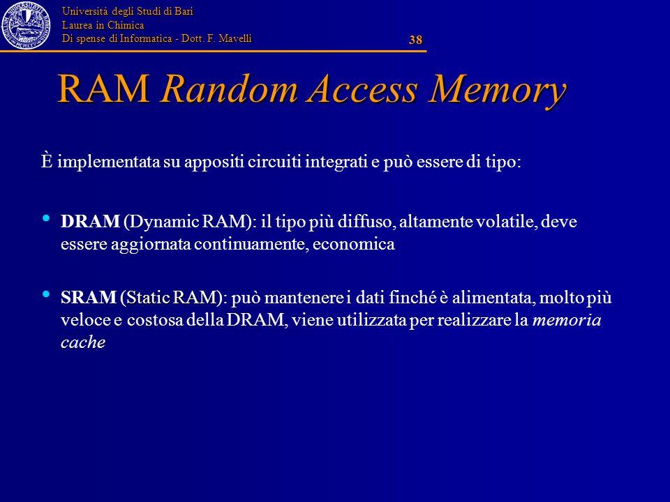 Università degli Studi di Bari Laurea in Chimica Di spense di Informatica - Dott. F. Mavelli 38 RAM Random Access Memory È implementata su appositi ci
