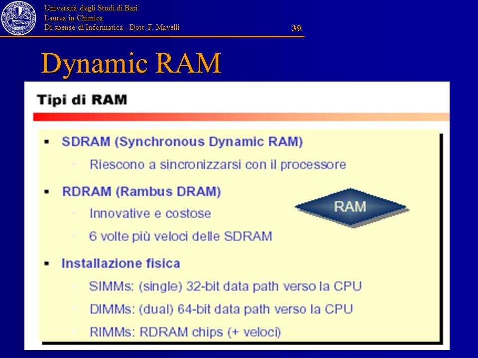 Università degli Studi di Bari Laurea in Chimica Di spense di Informatica - Dott. F. Mavelli 39 Dynamic RAM