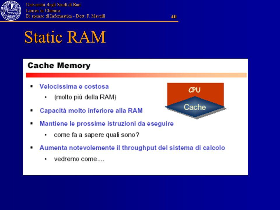 Università degli Studi di Bari Laurea in Chimica Di spense di Informatica - Dott. F. Mavelli 40 Static RAM