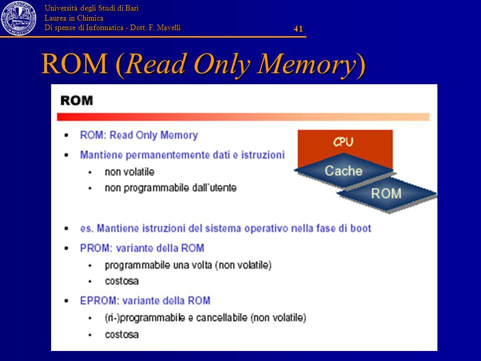 Università degli Studi di Bari Laurea in Chimica Di spense di Informatica - Dott. F. Mavelli 41 ROM (Read Only Memory)