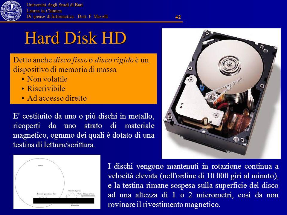 Università degli Studi di Bari Laurea in Chimica Di spense di Informatica - Dott. F. Mavelli 42 Hard Disk HD Detto anche disco fisso o disco rigido è