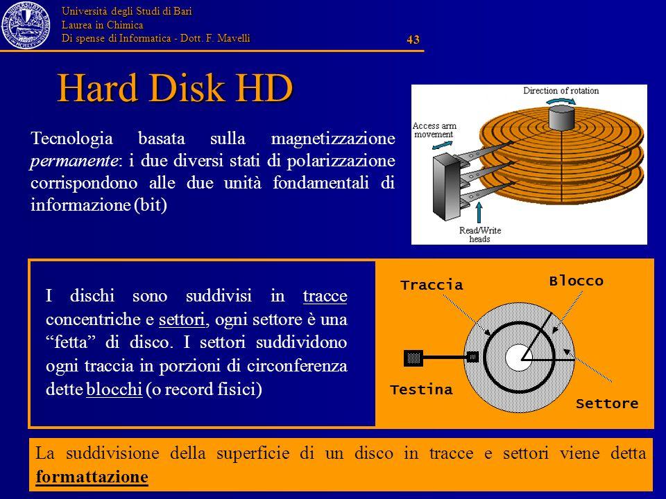 Università degli Studi di Bari Laurea in Chimica Di spense di Informatica - Dott. F. Mavelli 43 Hard Disk HD Traccia Settore Blocco Testina I dischi s