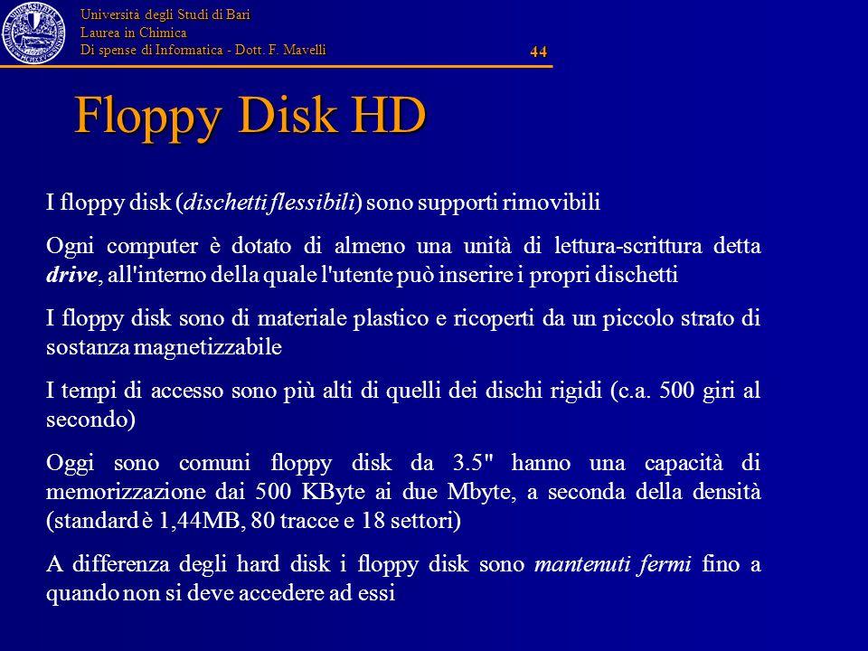 Università degli Studi di Bari Laurea in Chimica Di spense di Informatica - Dott. F. Mavelli 44 Floppy Disk HD I floppy disk (dischetti flessibili) so