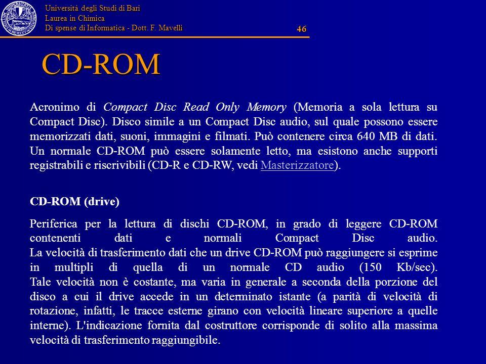 Università degli Studi di Bari Laurea in Chimica Di spense di Informatica - Dott. F. Mavelli 46 CD-ROM Acronimo di Compact Disc Read Only Memory (Memo