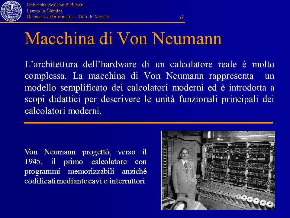 Università degli Studi di Bari Laurea in Chimica Di spense di Informatica - Dott. F. Mavelli 6 Macchina di Von Neumann Larchitettura dellhardware di u