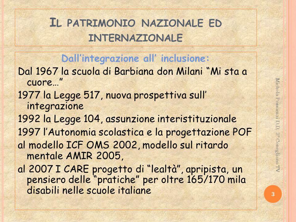 I L PATRIMONIO NAZIONALE ED INTERNAZIONALE Dallintegrazione all inclusione: Dal 1967 la scuola di Barbiana don Milani Mi sta a cuore… 1977 la Legge 51