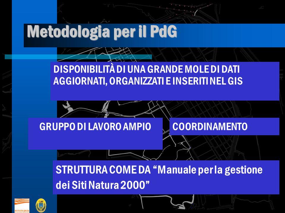 Metodologia per il PdG DISPONIBILITÀ DI UNA GRANDE MOLE DI DATI AGGIORNATI, ORGANIZZATI E INSERITI NEL GIS GRUPPO DI LAVORO AMPIOCOORDINAMENTO STRUTTURA COME DA Manuale per la gestione dei Siti Natura 2000