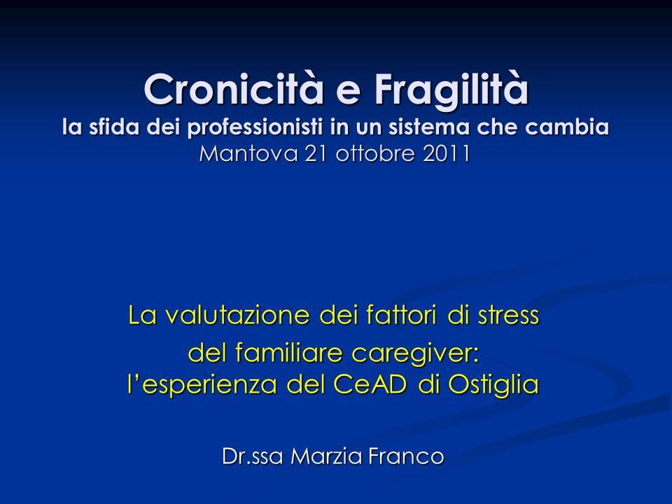 Cronicità e Fragilità la sfida dei professionisti in un sistema che cambia Mantova 21 ottobre 2011 La valutazione dei fattori di stress del familiare