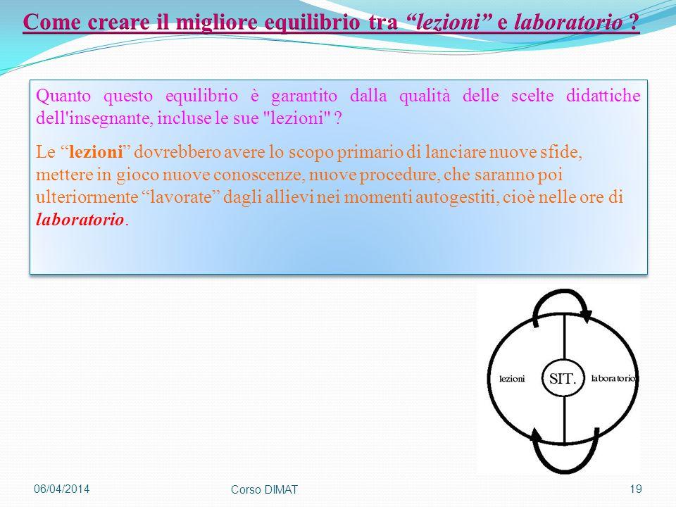 06/04/2014 Corso DIMAT 19 Quanto questo equilibrio è garantito dalla qualità delle scelte didattiche dell'insegnante, incluse le sue