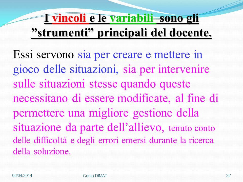 06/04/2014 Corso DIMAT 22 I vincoli e le variabili sono gli strumenti principali del docente. Essi servono sia per creare e mettere in gioco delle sit
