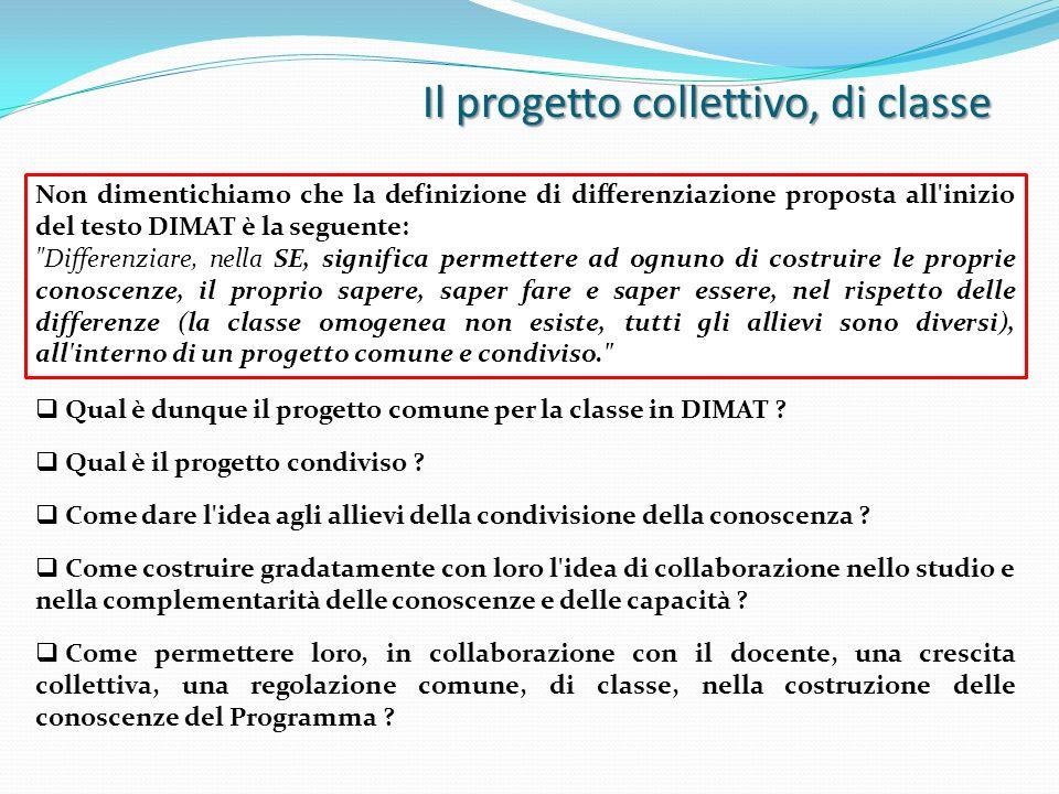 Il progetto collettivo, di classe Non dimentichiamo che la definizione di differenziazione proposta all'inizio del testo DIMAT è la seguente: