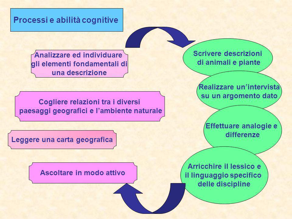 Processi e abilità cognitive Analizzare ed individuare gli elementi fondamentali di una descrizione Leggere una carta geografica Cogliere relazioni tr