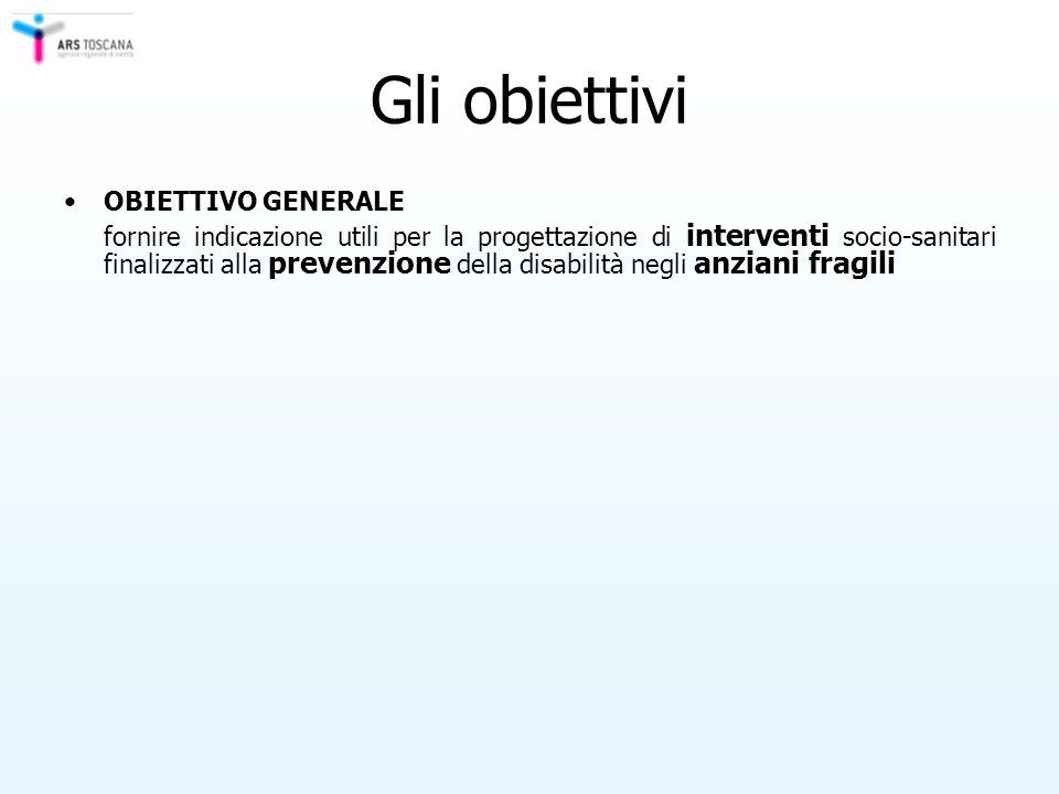 Gli obiettivi OBIETTIVO GENERALE fornire indicazione utili per la progettazione di interventi socio-sanitari finalizzati alla prevenzione della disabi