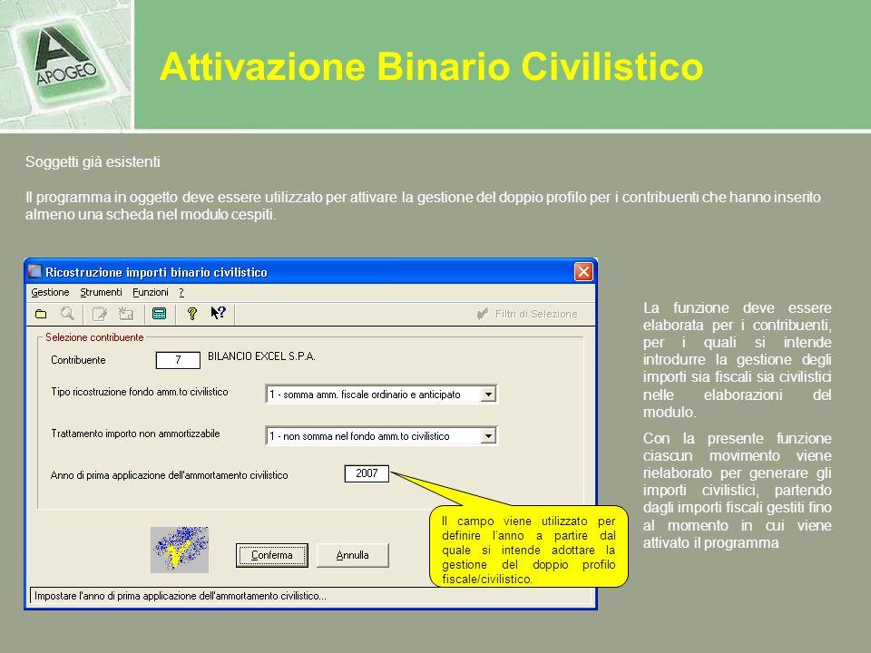 Attivazione Binario Civilistico Soggetti già esistenti La funzione deve essere elaborata per i contribuenti, per i quali si intende introdurre la gest
