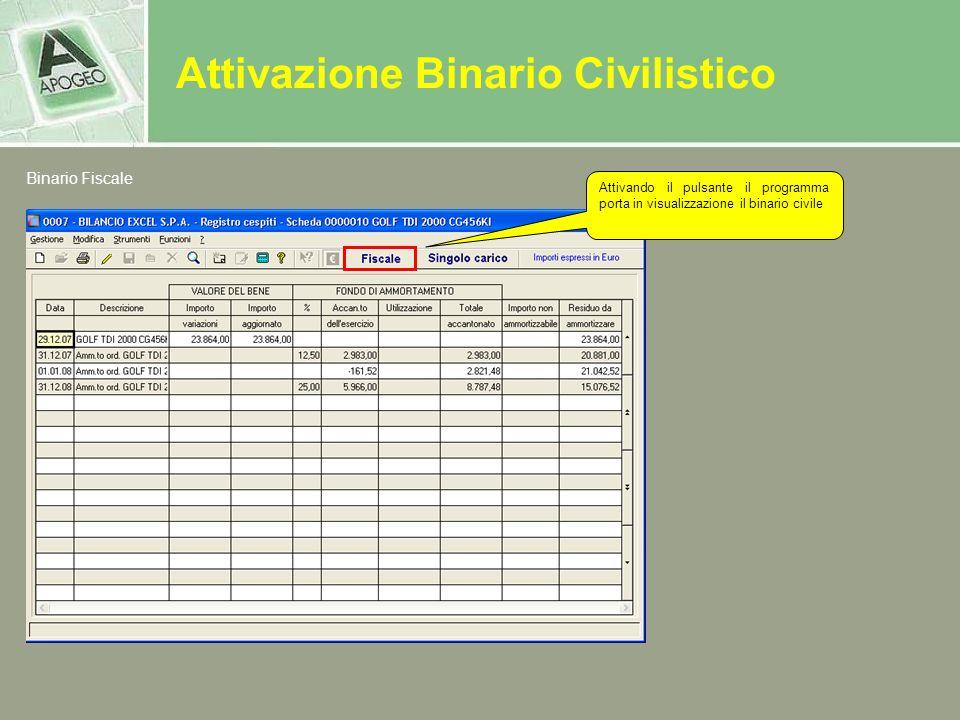 Attivazione Binario Civilistico Binario Fiscale Attivando il pulsante il programma porta in visualizzazione il binario civile