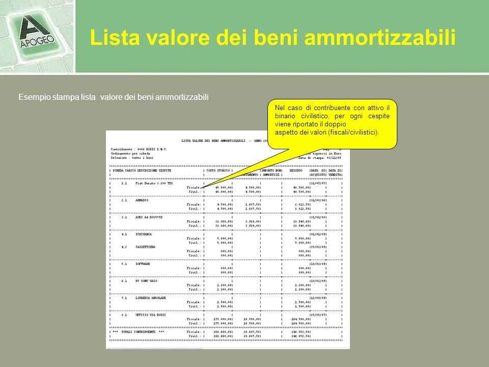 Lista valore dei beni ammortizzabili Nel caso di contribuente con attivo il binario civilistico, per ogni cespite viene riportato il doppio aspetto de