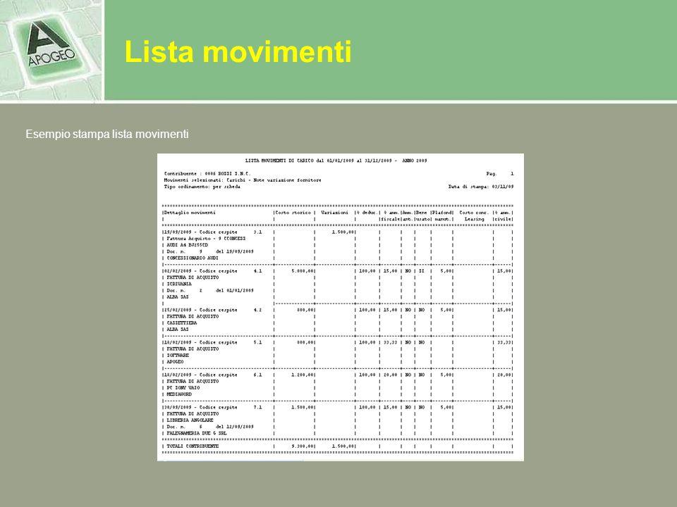 Lista movimenti Esempio stampa lista movimenti