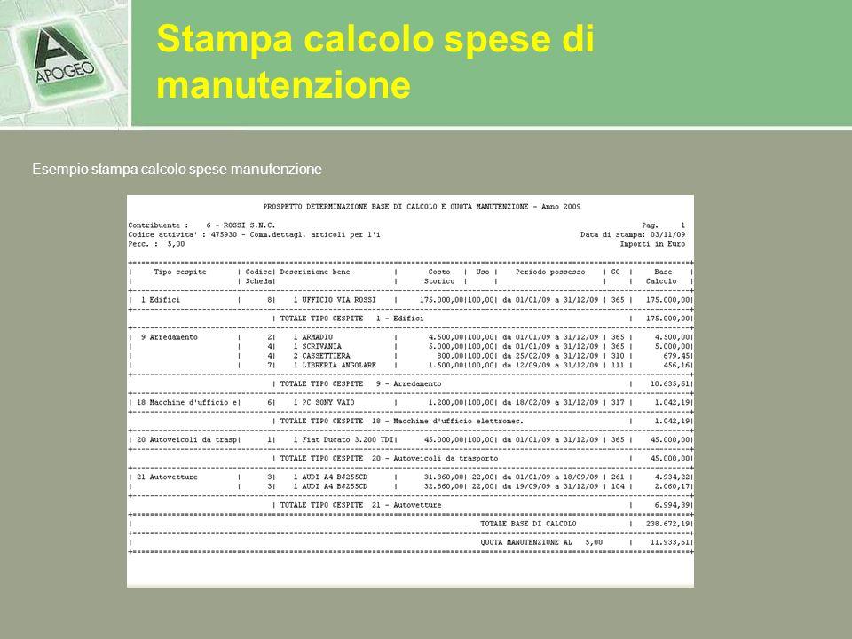 Stampa calcolo spese di manutenzione Esempio stampa calcolo spese manutenzione